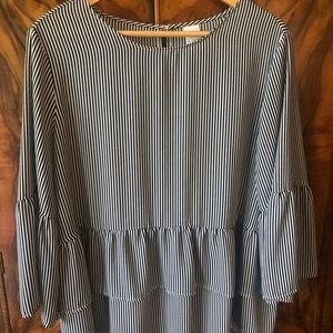 Tops - Navy striped double ruffle hem and bell sleeve